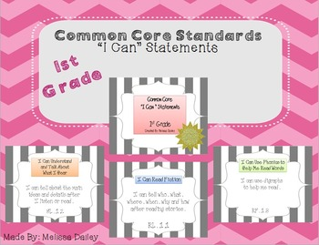 """Common Core Standards / """"I Can"""" Statements - First Grade"""