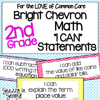 Common Core 'I Can' Statements for 2nd Grade Math - Bright