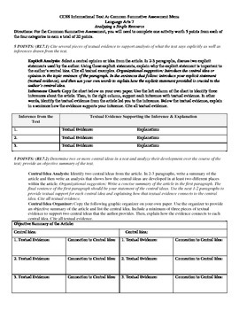 Common Core Informational Materials Assessment RL.7.1, 7.2