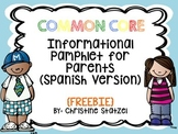 Common Core Informational Pamphlet for Parents: SPANISH VE