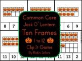 Common Core Jack O' Lantern Autumn Ten Frames 1 to 12 Clip