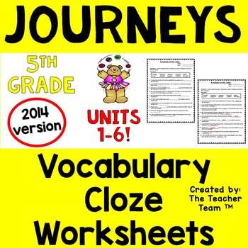 Journeys 5th Grade Fill in the Blank Worksheets 2014 - Full Year