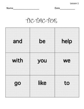 FREEBIE! Common Core: Journeys lesson 1 sight words Tic_Tac-Toe