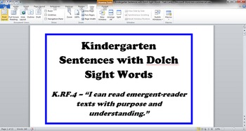 Common Core - Kindergarten Sentences with Dolch Sight Word