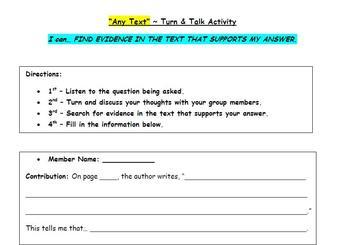 Common Core Language Arts - Turn & Talk Text Evidence Sheet