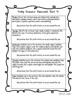 Common Core: Language Arts: Week 14 Grammar Homework
