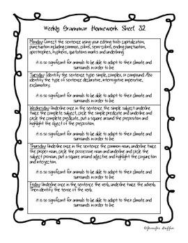 Common Core: Language Arts: Week 32 Grammar Homework