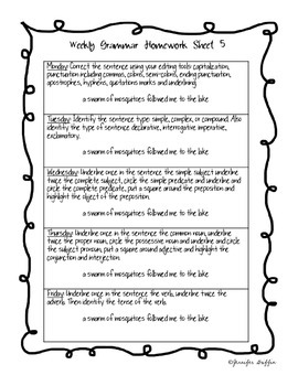 Common Core: Language Arts: Week 5 Grammar Homework