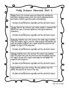 Common Core: Language Arts: Week 7 Grammar Homework