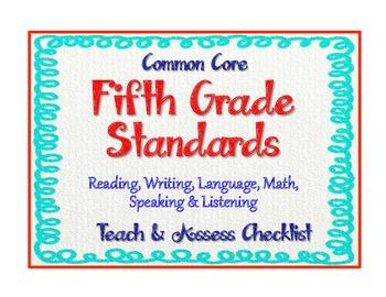 """Common Core Language Standards - 5th Grade Checklist """"Teac"""