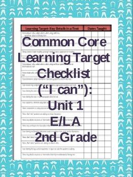 Common Core Learning Target Checklist E/LA 2nd Grade Unit 1