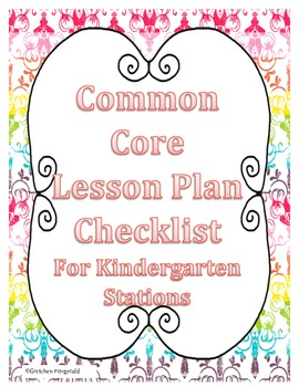 Common Core Lesson PLan Checklist for Literacy Stations