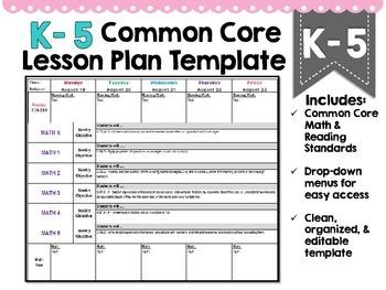Common Core Lesson Plan Template K-5