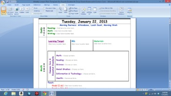 Common Core  Lesson Plan Template with Drop Down Boxes for