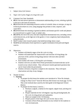 Common Core Life Cycle of a Frog Editable Lesson Plan