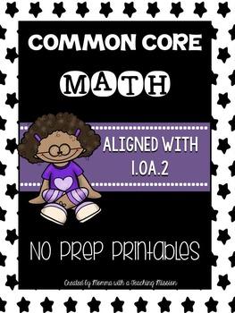 Common Core Math 1.OA.2 No Prep Printables