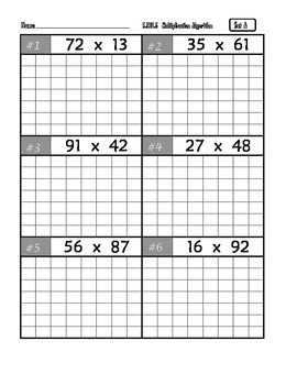 Common Core Math 5.NBT.5 (Two-Digit Multiplication, using a grid)