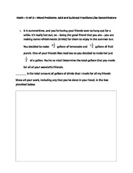 Common Core Math--5.NF.2--Word Problems-Add/Subtract Fract