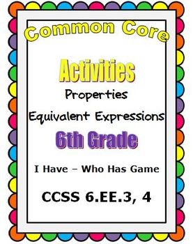 Common Core Math 6th Grade Equivalent Expressions (6.EE.3,
