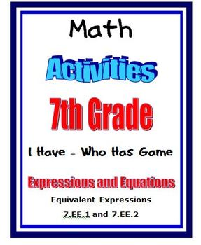 Common Core Math 7th Grade Equivalent Expressions with I H
