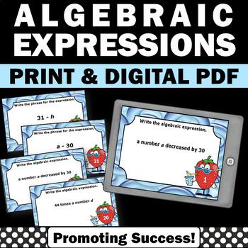 Algebra Task Cards with Algebraic Expressions 5th 6th Grad
