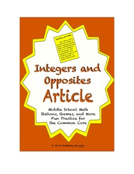 Common Core Math Article - Integers and Opposites