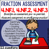 Common Core Math Assessment-- Fractions {4.NF.1, 4.NF.2 an