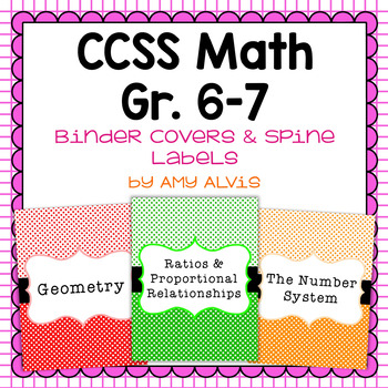 Common Core Math Binder Covers and Spine Labels - 6th and