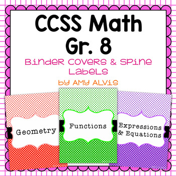 Common Core Math Binder Covers and Spine Labels - 8th grade