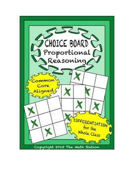 Common Core Math - CHOICE BOARD Proportional Relationships