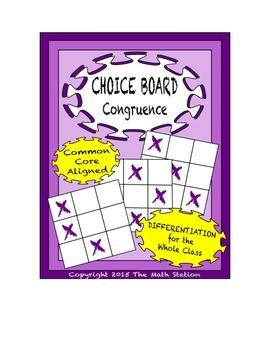 Common Core Math - CHOICE BOARD Understanding Congruence -