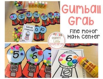 Common Core Math Center: Gumball Grab Counting & Cardinali