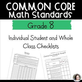 Common Core Math Checklists - Grade 8