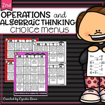 Math Choice Boards for Second Grade Operations and Algebra