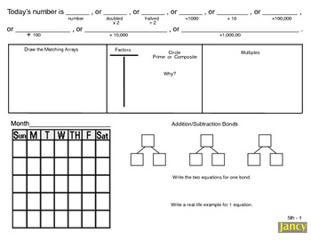 Common Core Math Concepts and Number Sense Math Calendar