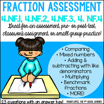 Common Core Math FRACTION Assessment {4.NF.1, 4.NF.2, 4.NF