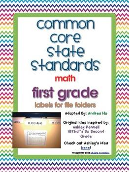 Common Core Math File Folder Labels (FIRST GRADE)