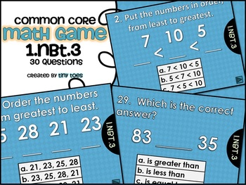 Common Core Math Game for First Grade - 1.NBT.3  Interacti