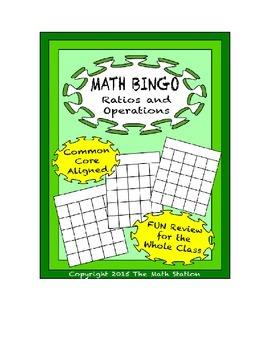 "Common Core Math Games - ""Math BINGO"" Ratios and Operation"