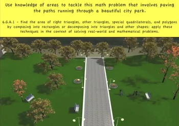 Common Core Math Activity (Paving the Park)- Area of Rectangles