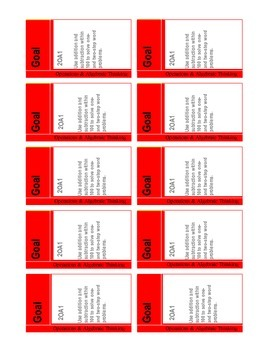 Common Core Math Goal Cards for Operations &  Algebraic Th