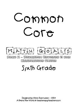 Common Core Math Goal Page - Rational Numbers & the Coordi
