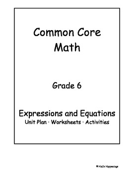6th Grade Common Core Math Expressions and Equations Unit