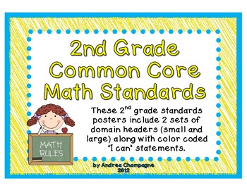 "Common Core Math ""I Can"" Standards- 2nd Grade"
