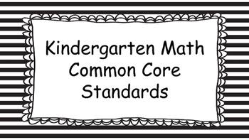 Kindergarten Math Standards Posters on Black Striped Frame