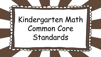 Kindergarten Math Standards Posters on Brown Sunburst Frame