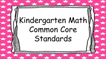 Kindergarten Math Standards Posters on Pink Star Frame