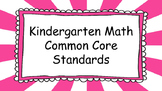Kindergarten Math Standards Posters on Pink Sunburst Frame