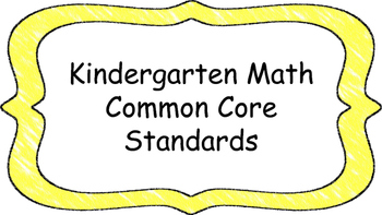 Kindergarten Math Standards Posters on Yellow Crayon Color