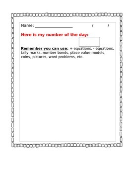 Common Core Math - Number of the Day (Rename the number)